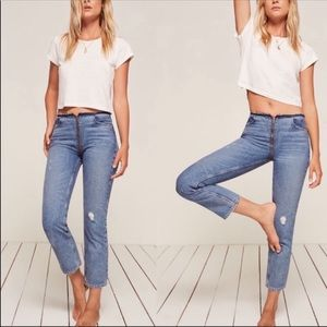 Reformation Straight Leg Zip Crop Jeans in Celtic